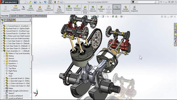 Modeling a Motorcycle Engine with SOLIDWORKS | Lynda.com