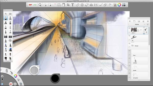 Sketchbook pro drawing one point perspective for Project drawing software