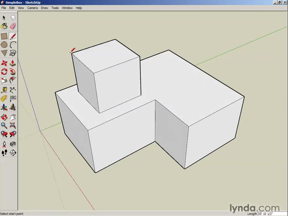 Using the line tool for 3d drawing from the course google for Google 3d design sketchup