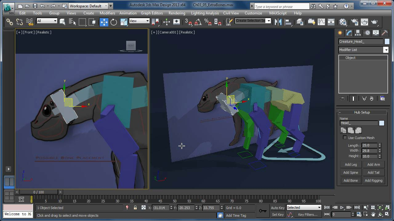 Getting started with cat rigging tools in 3ds max for 3ds max design