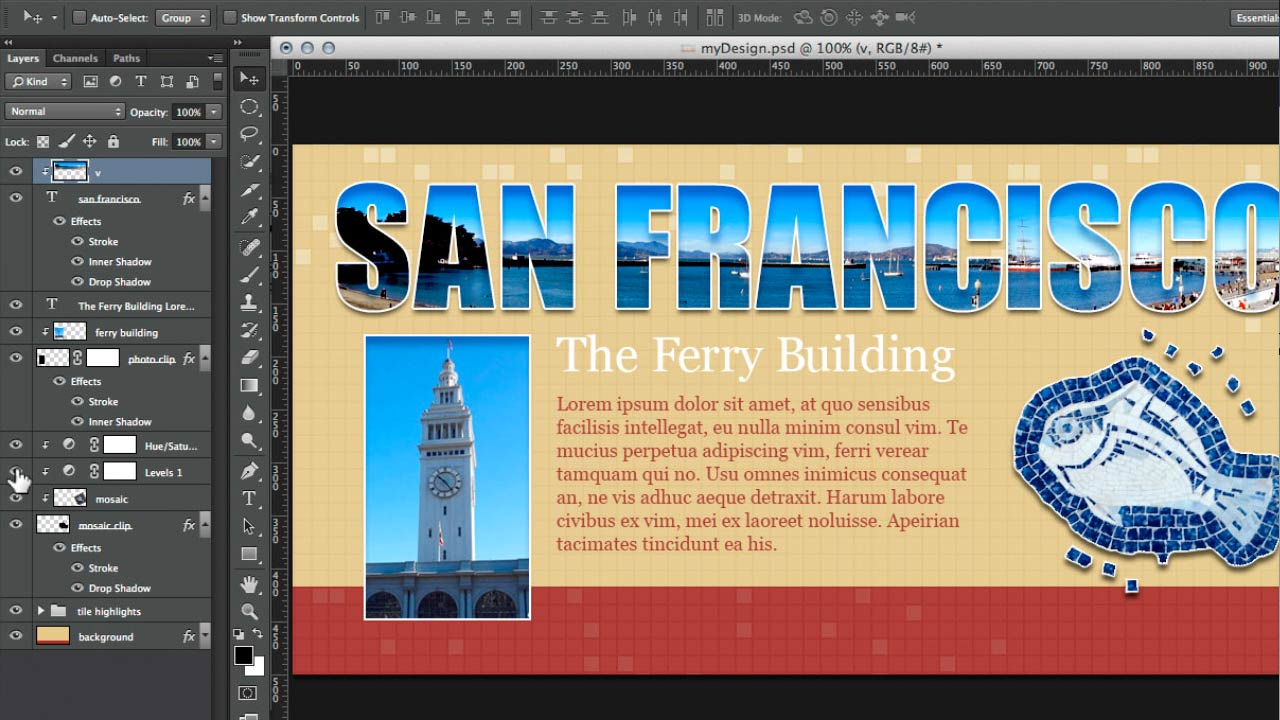Introduction to clipping masks in Photoshop: Design the Web: Clipping Masks