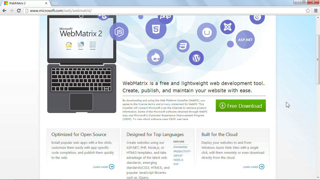Welcome: Installing and Running WordPress: WebMatrix