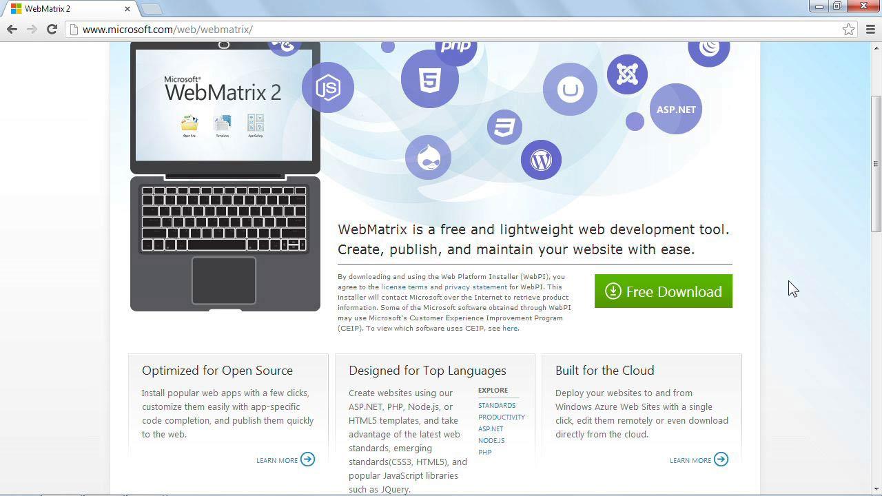 : Installing and Running WordPress: WebMatrix