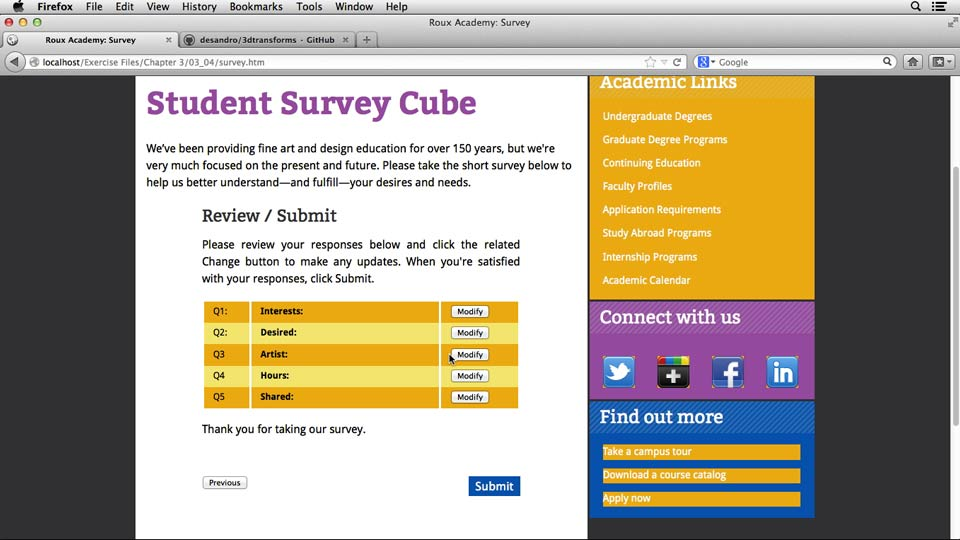 Welcome: HTML5 Projects: Creating Surveys