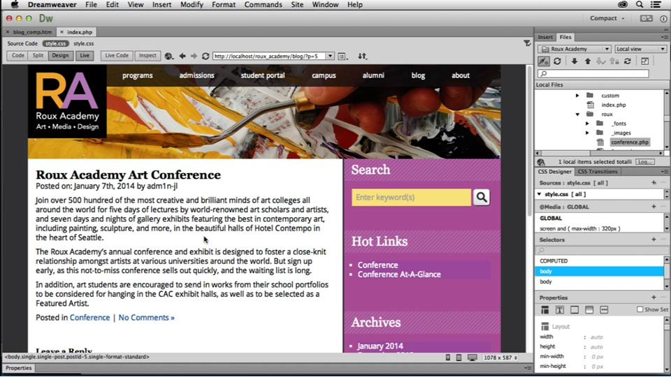 : Dreamweaver CC and WordPress 3.8: Core Concepts