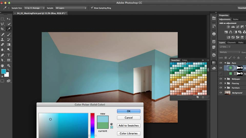 Interior Design Computer Program creating a living room composite in photoshop