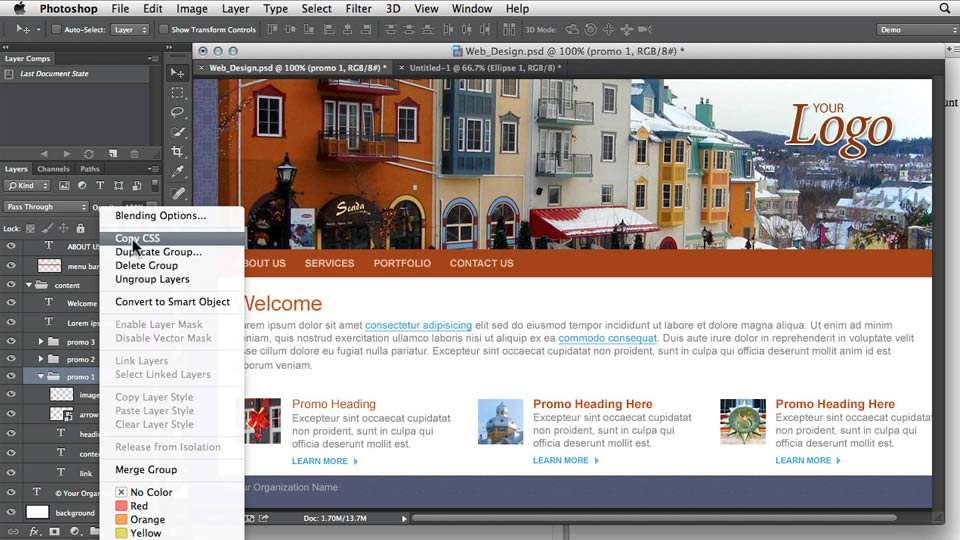 Preview the final project: Design the Web: Getting CSS from Photoshop