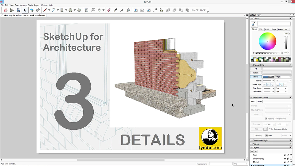 Adding the horizontal mortar: SketchUp for Architecture: Details