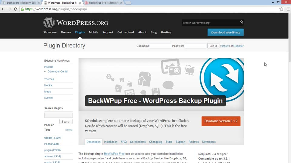 Welcome: WordPress Plugins: Backing Up Your Site
