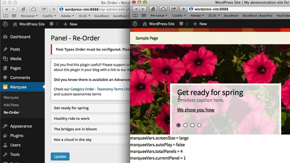 Preview the final project: Creating a Marquee in WordPress with jQuery