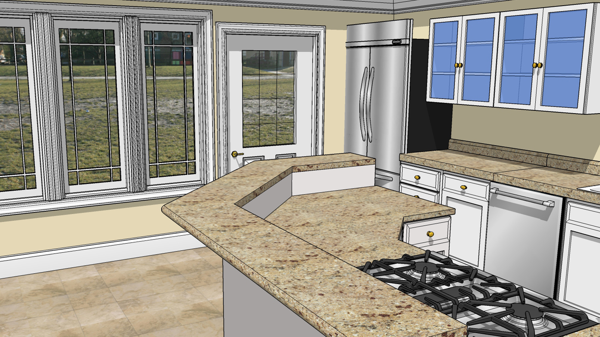 sketchup for interior design - Sketchup Kitchen Design