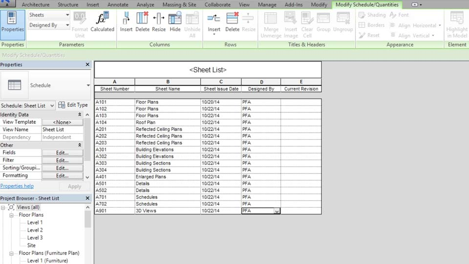 Architecture Design Sheet Format revit templates: views and sheets