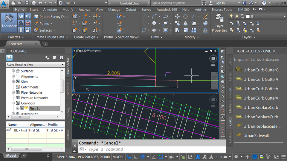 Editing a pressure network in plan view: Civil 3D Essential Training