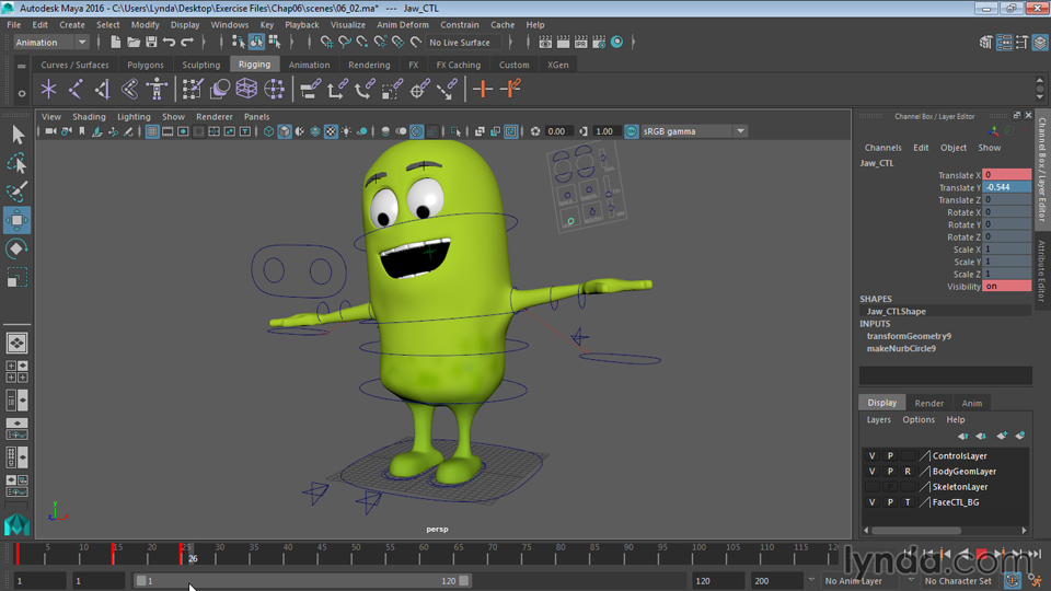 Adding controllers to the hip and spine: Rigging a Cartoon Character in Maya