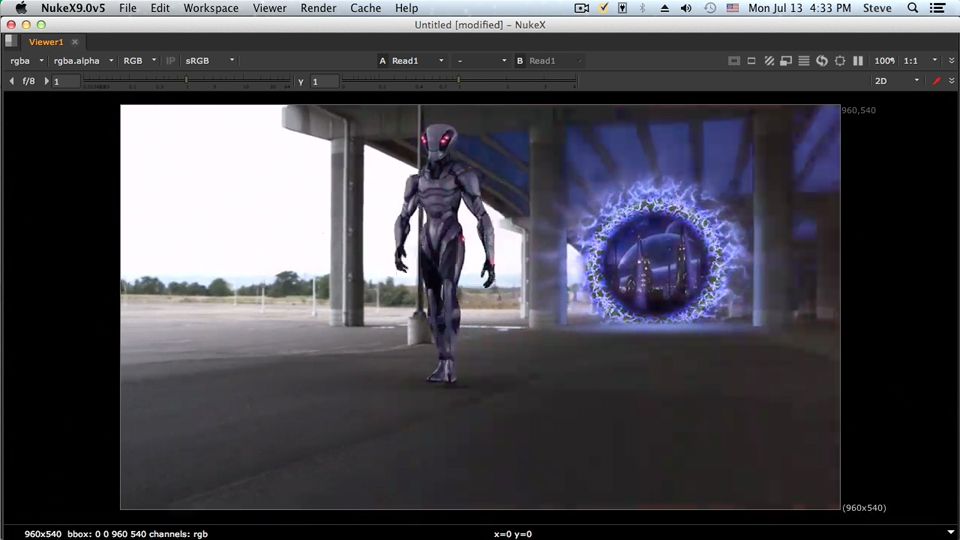 Adding the pillar lighting: NUKE Compositing: Alien Portal