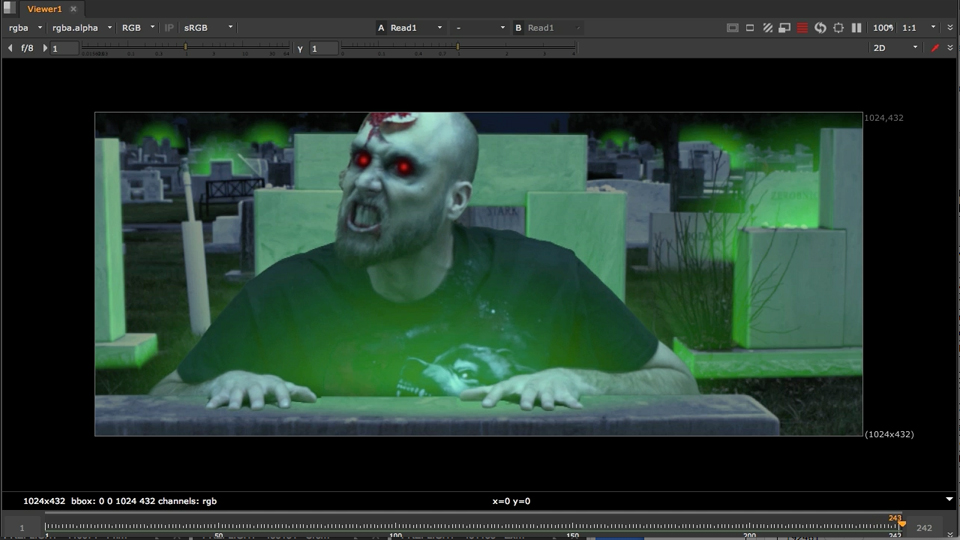 Day-for-night color correction: NUKE Compositing: Zombies