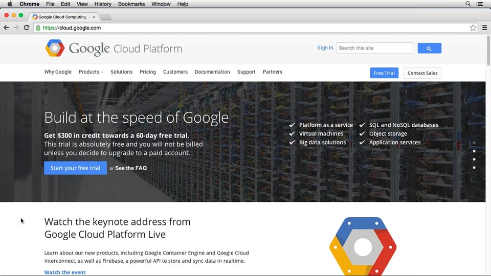 Welcome: Up and Running with Google Cloud Platform