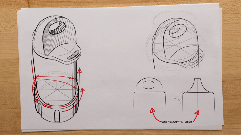 The power of centerlines and projection lines (projecting to vertices and center points): Sketching for Product Design and AEC