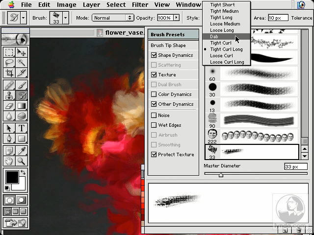 preparing the workspace: Photoshop Brushes