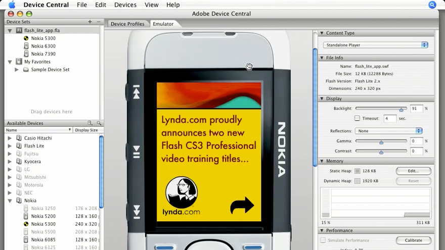 Working with Adobe Device Central: Flash CS3 Projects: Delivering Flash to Mobile Devices
