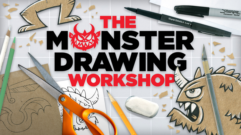 Cutting out the legs and feet: The Monster Drawing Workshop