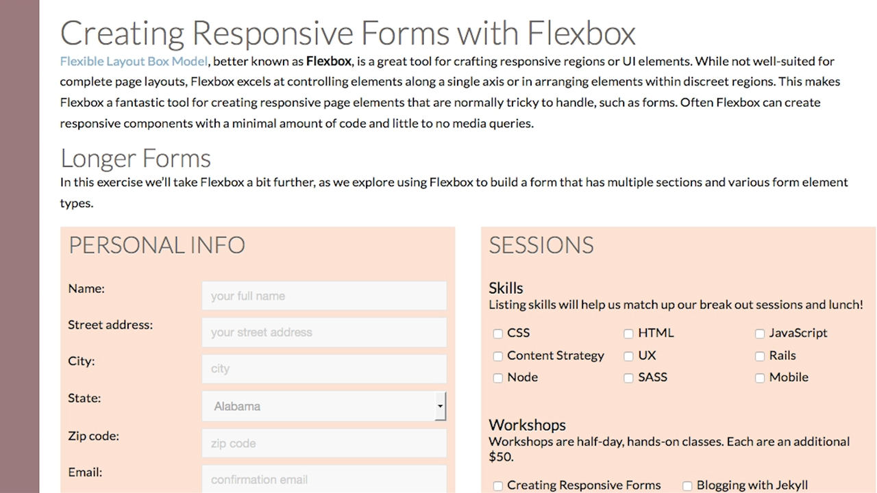 Creating responsive checkbox groups: Building Responsive Forms with Flexbox