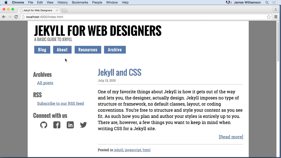 Adding metadata: Jekyll for Web Designers