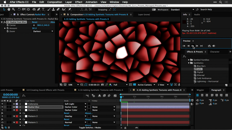 Creating animated transitions with presets: After Effects Guru: Effects and Preset Management