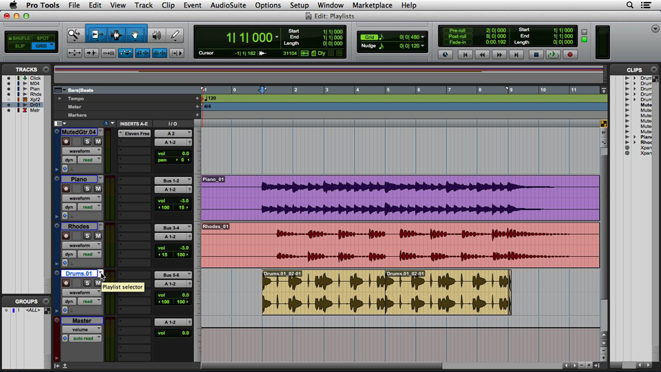 Using Track Freeze with audio: Pro Tools 12 Essential Training