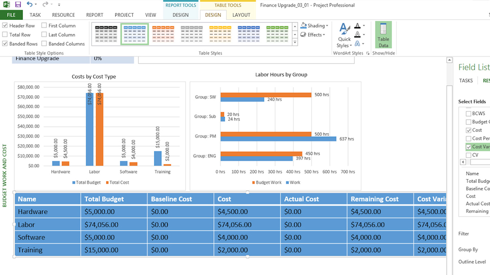 Reviewing costs by task and resource: Managing Budget-Constrained Projects with Microsoft Project