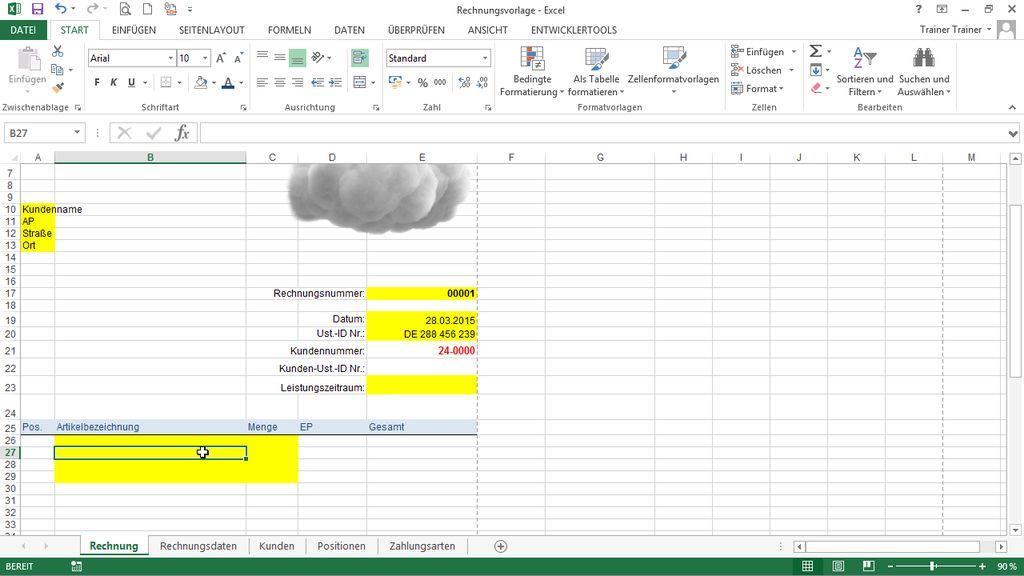 Komfortables Rechnungsformular Mit Excel Vba
