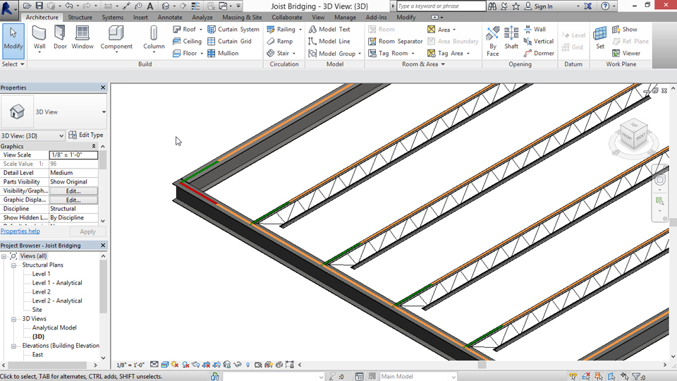 Using the truss template: Structural Families in Revit