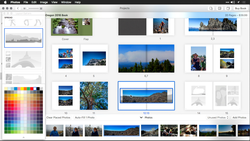 Adding or modifying text on a book page: Creating Cards, Calendars, and Books with Photos for OS X
