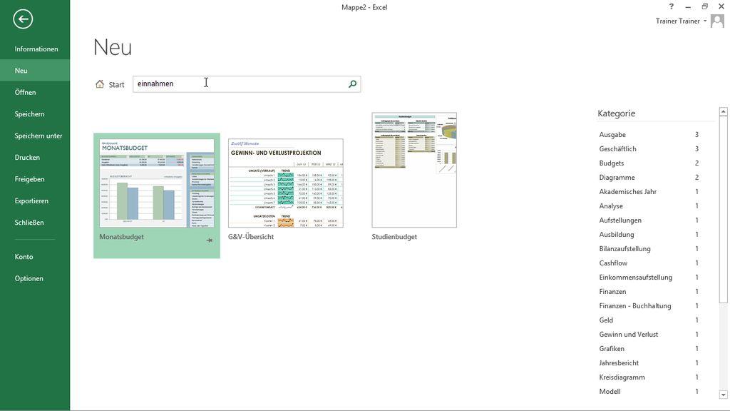 Kassenbuch mit Excel