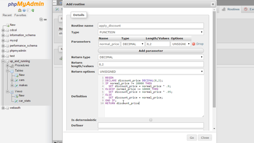 Syntax checker in phpMyAmin 4.5: Up and Running with phpMyAdmin