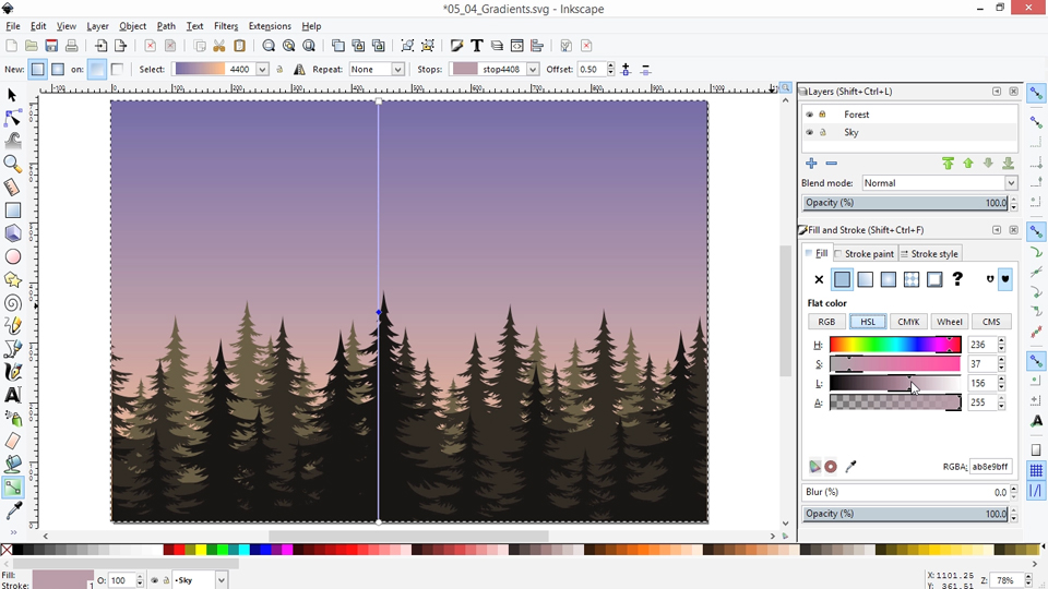 Working with swatches: Inkscape Essential Training