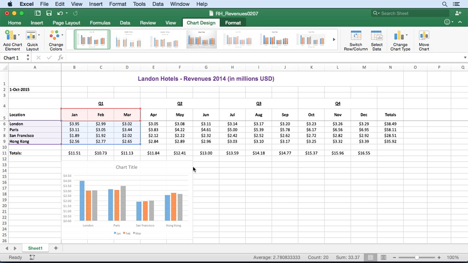 Inserting recommended charts: Learn Excel for Mac 2016: The Basics