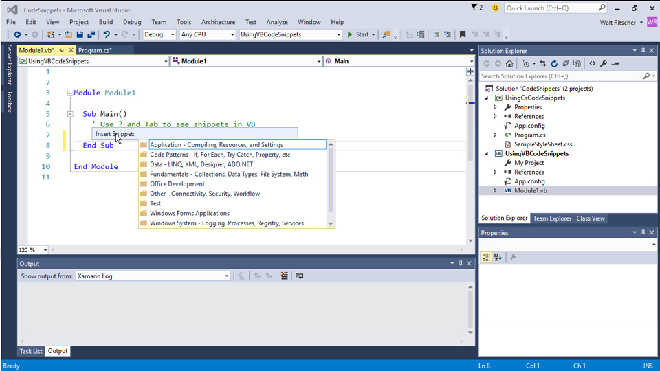 Use the Comment tools: Visual Studio 2015 Essentials 05: Code Editors