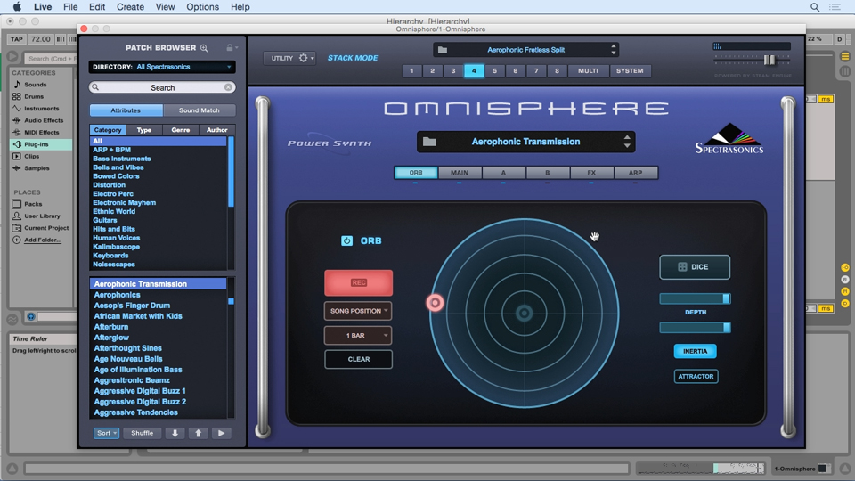 Navigating common parameters of the main page: Up and Running with Omnisphere 2