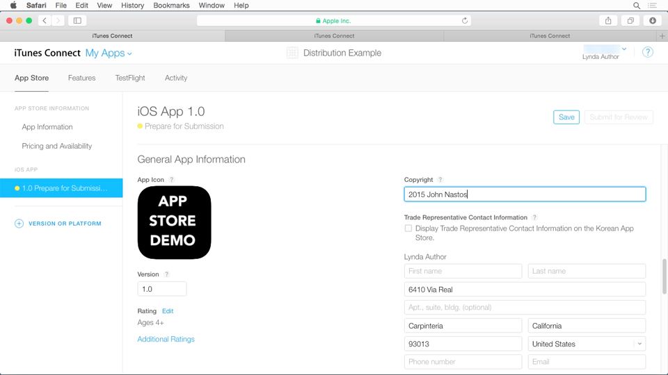 Creating an app ID and application entry: Distributing iOS Applications Through the App Store