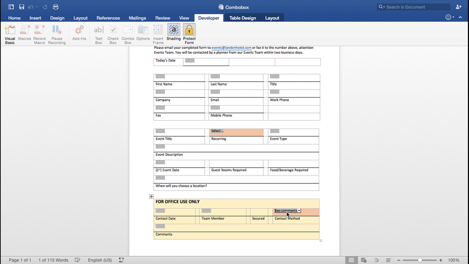 Inserting a Check Box control: Forms in Depth with Word for Mac 2016
