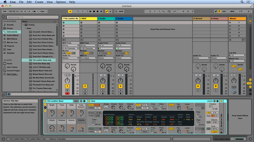 Creating a richer sound with oscillator tuning: Up and Running with Ableton Analog