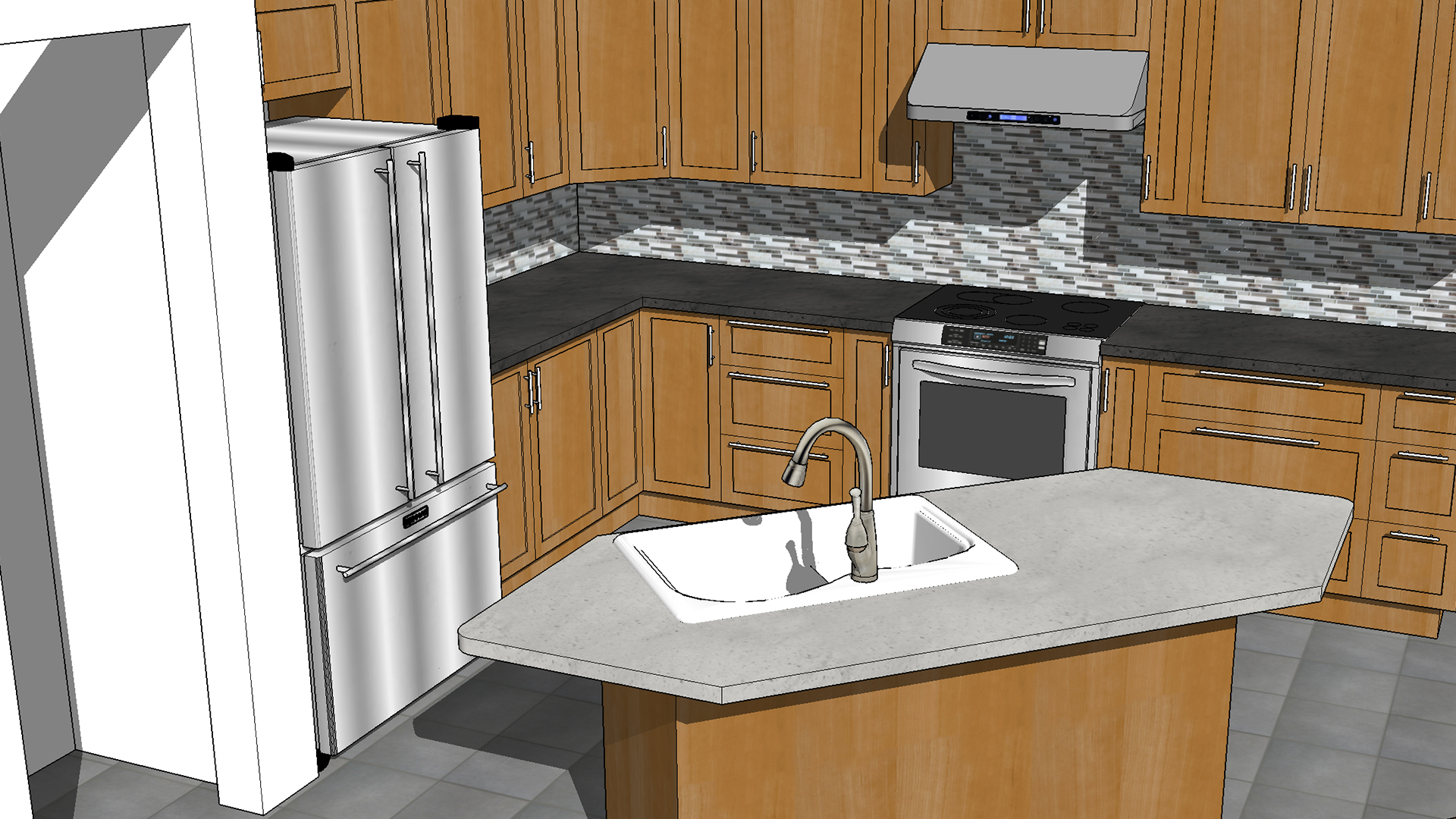 Sketchup kitchen design for Kitchen setting pictures