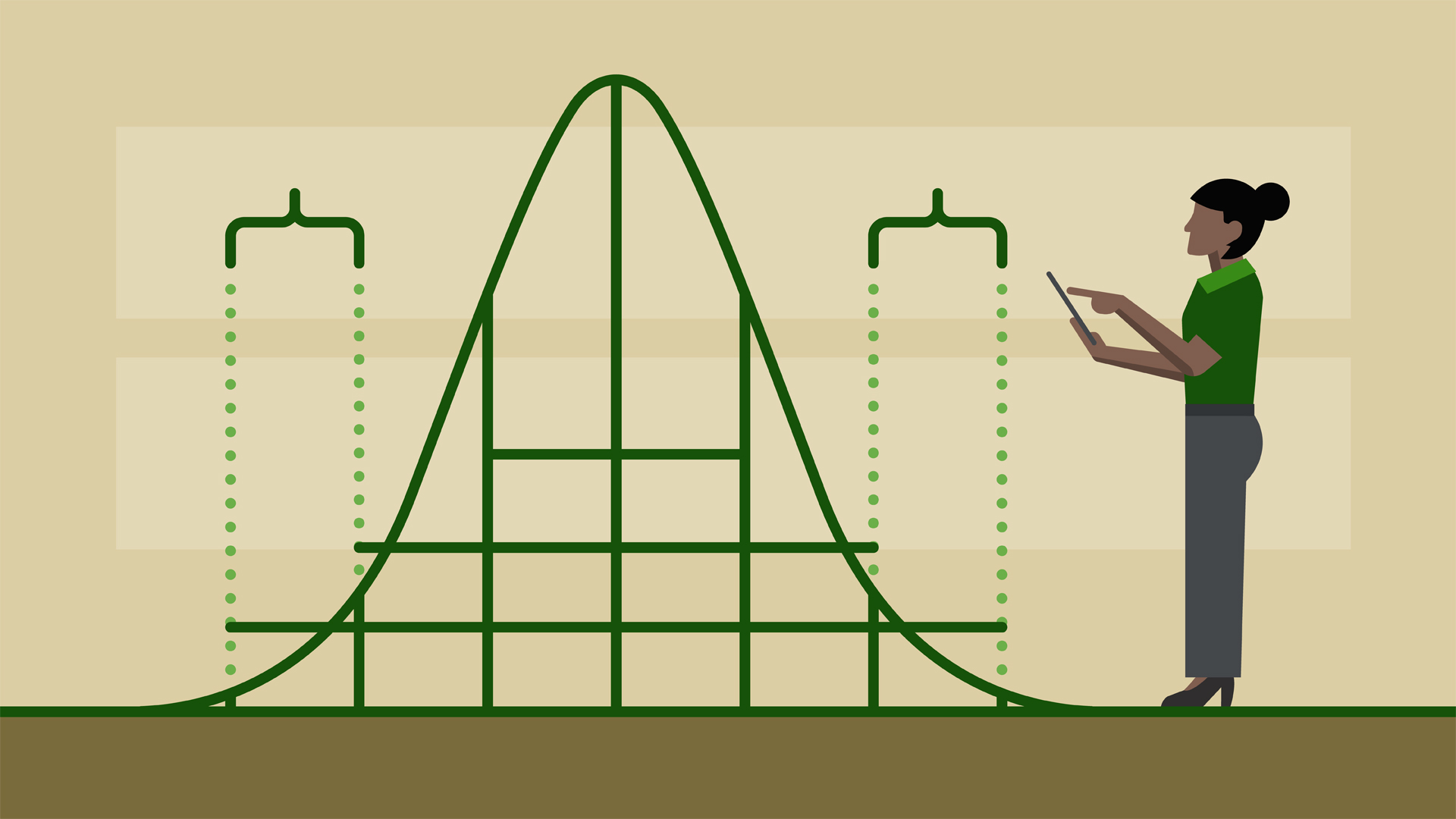 A cartoon of the normal distribution with a woman examining the graph on a tablet.