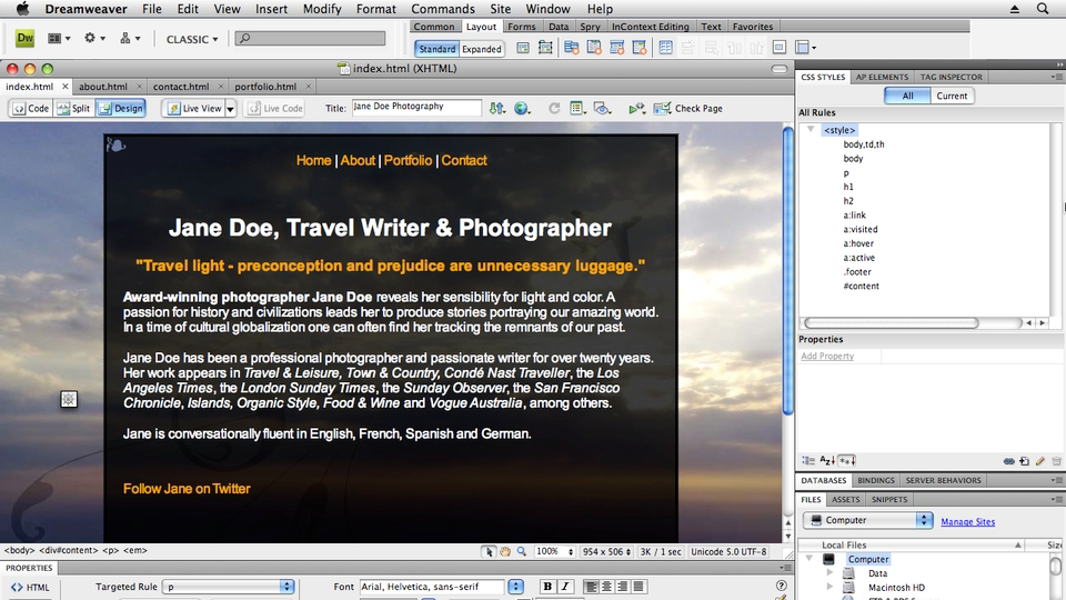 Welcome: Creating a First Web Site with Dreamweaver CS4