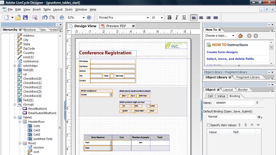 Viewing data: Acrobat 9 Pro: Creating Forms