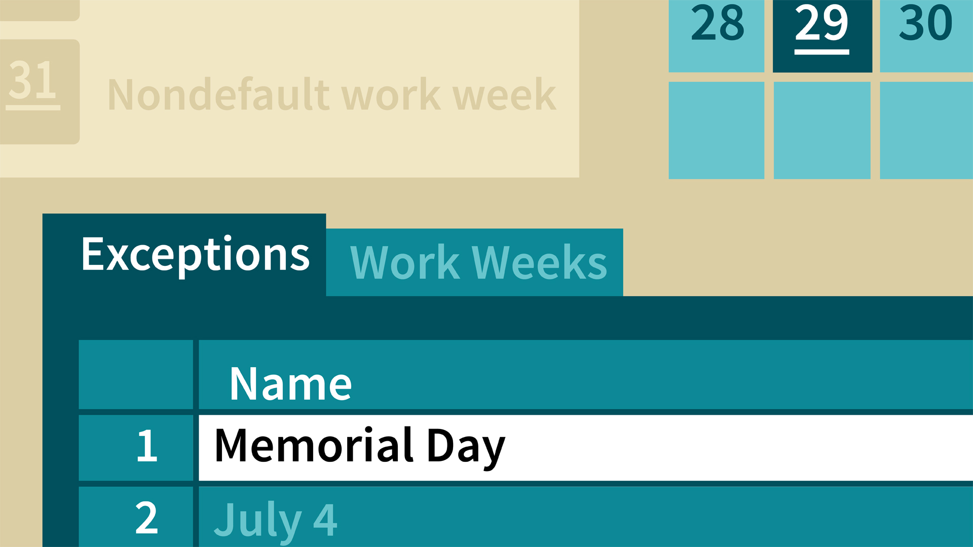 Create a calendar for a two-week work schedule