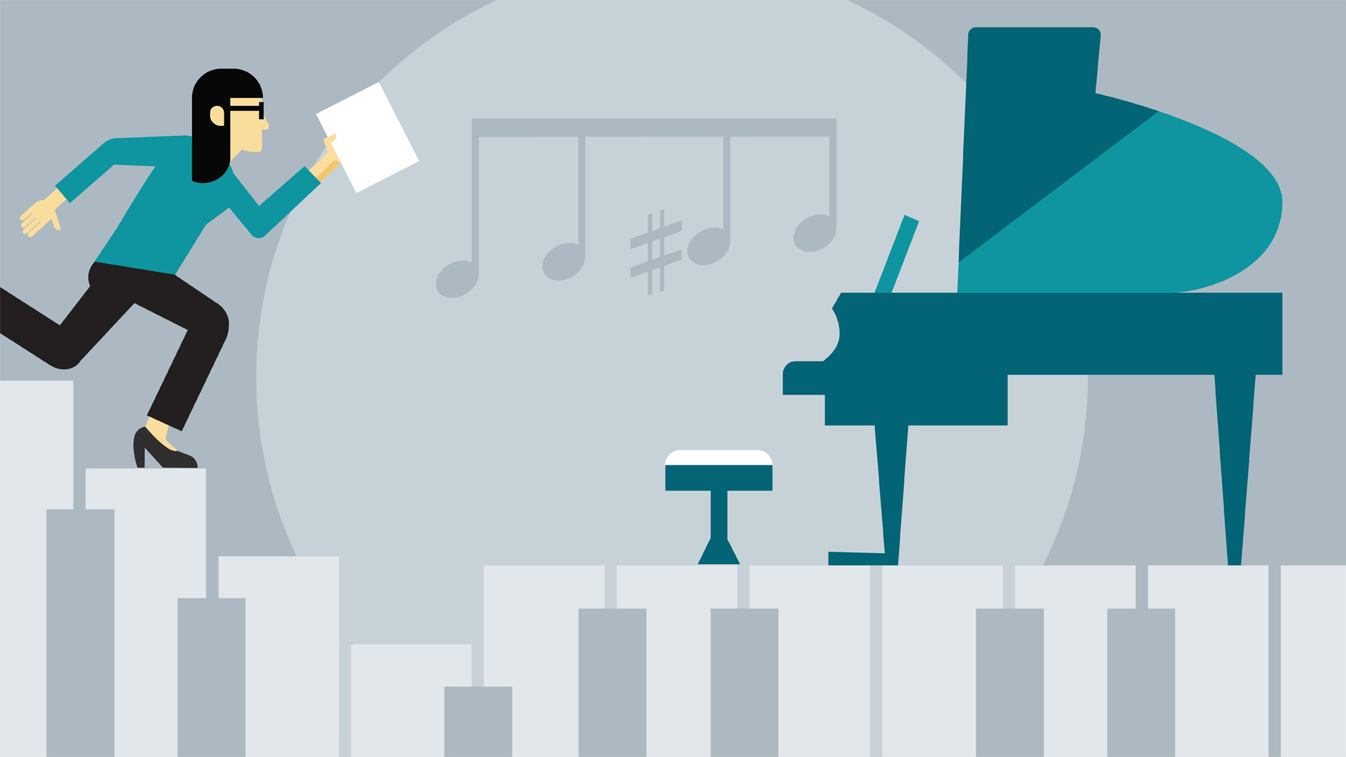 Illustration of piano and piano player walking across piano keys