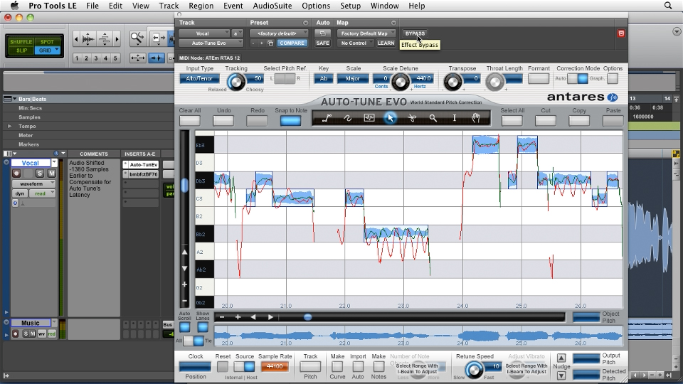 pro tools pitch correction with antares auto tune evo