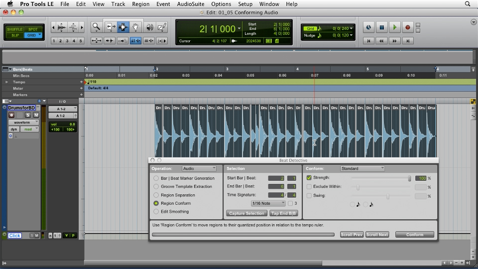 Welcome: Pro Tools Projects: Editing Drums Using Beat Detective and Sound Replacer